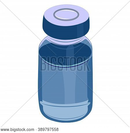 Vector Illustration On A Medical Theme. Image Of A Penicillin Vial Or Ampoule With Vaccine For Vacci