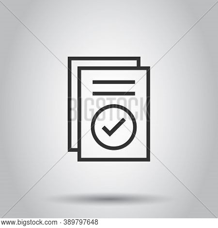 Approved Document Icon In Flat Style. Authorize Vector Illustration On White Isolated Background. Ag