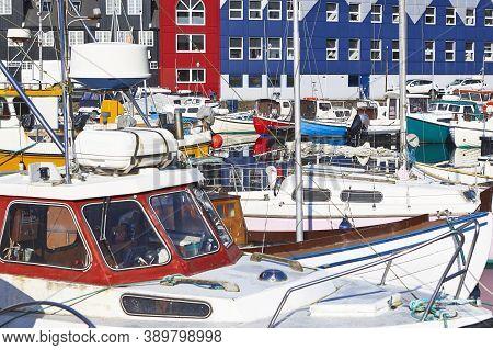 Torshavn Harbor In Streymoy Feroe Islands. Colorful Picturesque Houses