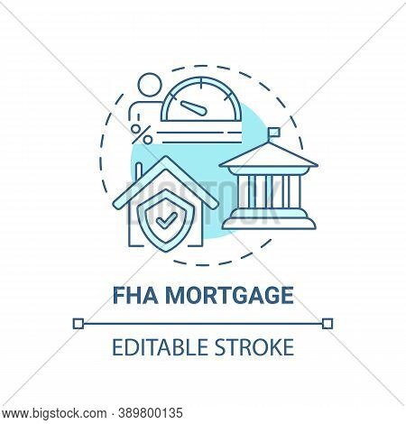 Fha Mortgage Concept Icon. Federal Housing Administration Type Idea Thin Line Illustration. Home Pur