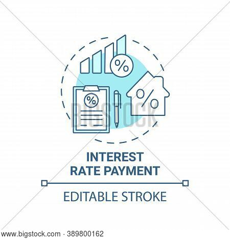 Interest Rate Payment Concept Icon. Mortgage Payment Element Idea Thin Line Illustration. Addition T