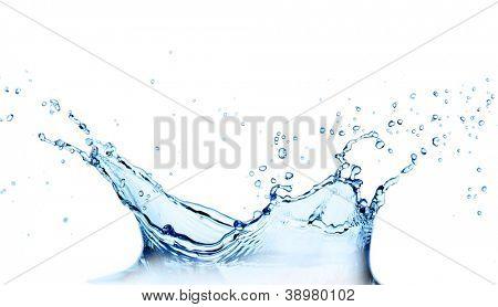 Water splash over white
