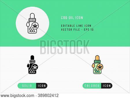 Cbd Oil Icons Set Editable Stroke Vector Illustration. Tincture Concentrate Drop Concept. Icon Line