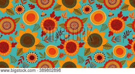 Folk Floral Seamless Pattern. Modern Abstract Design For Paper, Cover, Fabric, Pacing And Other