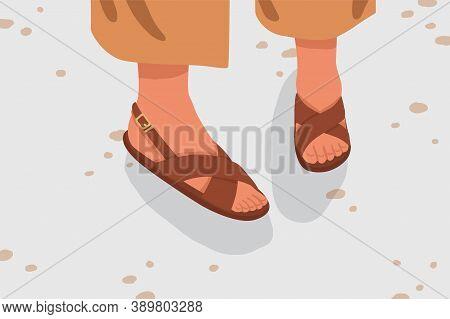 Fashionable Woman Street Strap Sandals. Female Feet In Stylish Elegant Flat Sole Open Toe Footwear.