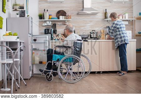 Disabled Senior Man In Wheelchair Taking Eggs Carton From Refrigerator For Wife In Kitchen. Senior W