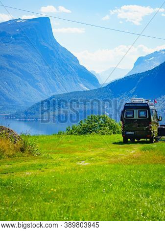 Eresfjord, Norway - July 27, 2018: Mercedes-benz Sprinter Van Camping On Roadside. Eresfjord More Og