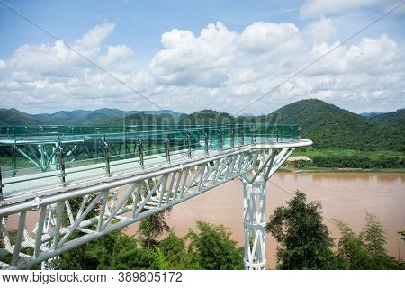 Sky Walk, A New Landmark On The Mekong River Chiang Khan District, Loei Province, Thailand