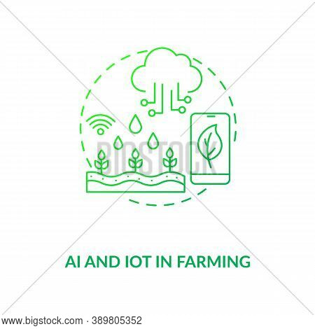 Ai And Iot In Farming Concept Icon. Agriculture Field Innovational Creations. Technologies For Organ
