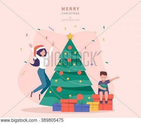 Young beautiful mother and son decorate Christmas tree. Gifts under christmas tree. Merry Christmas card vector Illustration.Christmas. Christmas Vector. Christmas Background. Merry Christmas Vector. Merry Christmas banner. Christmas illustrations