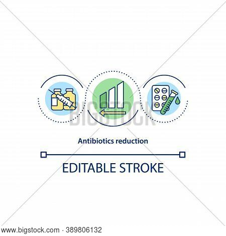 Antibiotics Reduction Concept Icon. Farming Challenge Idea Thin Line Illustration. Vet Medicine. Ant