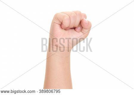 Image Of Boy Hand Isolated On White Background.
