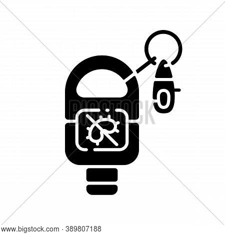 Keyring Sanitizer Black Glyph Icon. Keychain Holder For Tube With Liquid Soap. Pocket Wash For Hand