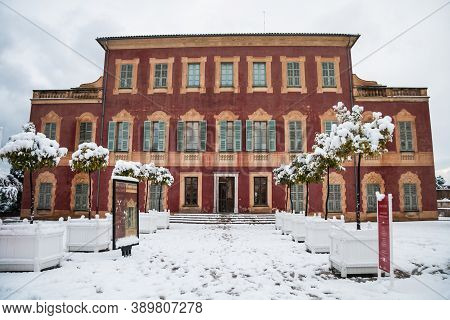 Nice, France Feb 11, 2010: Facade Of Musee Matisse (museum) In Nice France After A Rare Winter Snow