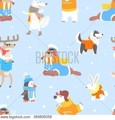 North Pole Arctic Animals Seamless Pattern, Cute Walrus, Penguin, Husky Dog And Reindeer Characters