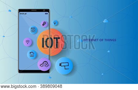 Internet Of Things Concept(iot). Symbol Connected With Icons Of Typical Iot.  User Connecting Interc