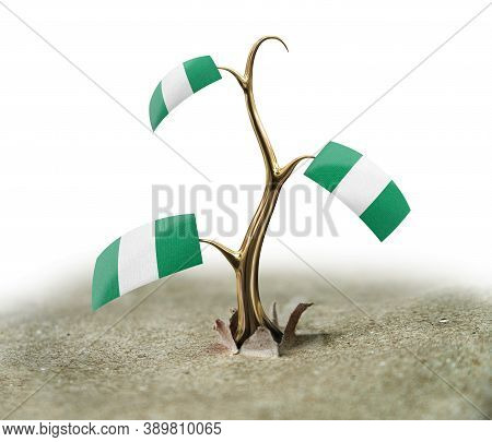 3d Illustration. 3d Sprout With Nigerian Flag On White