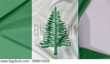 Norfolk Island Fabric Flag Crepe And Crease With White Space, Norfolk Island Pine In A Central White