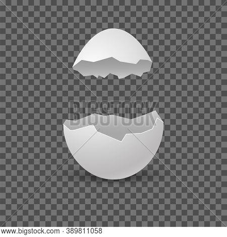 Brocken Eggs. Crack Eggshell. Vector Realistic Break White Shell On Transparent Background.