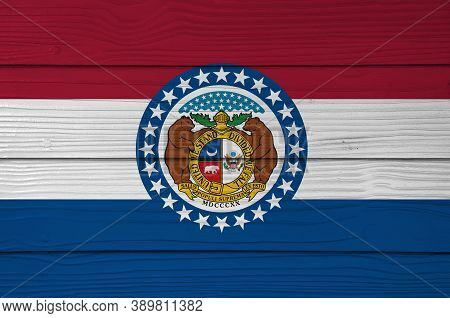 Missouri  Flag Color Painted On Fiber Cement Sheet Wall Background, The Missouri Seal, Surrounded By