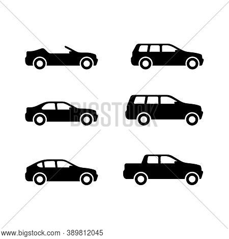 Vector Cars - Set Of Vector Monochrome Automobiles With Different Car Body - Sedan, Offroad, Roadste