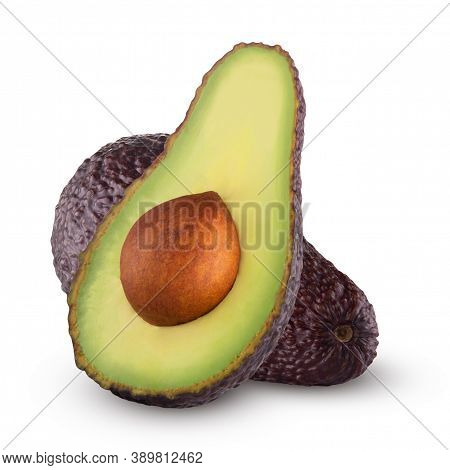 Brown Avocado With Avocado Leaves On A White Background.