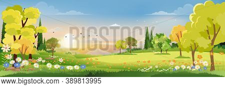 Spring Landscape In Village With Green Field And Sunset,vector Flat Cartoon Rural Farmland With Moun