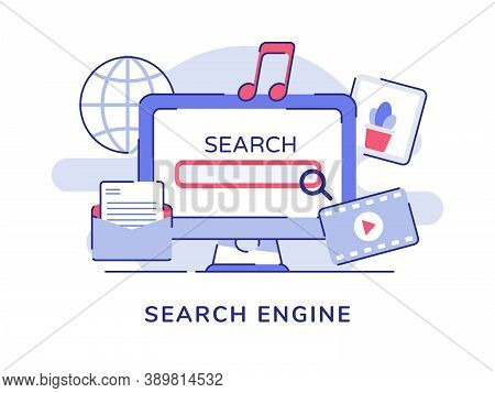 Search Engine Concept Ui Magnifier On Display Computer Screen Video Music Picture White Isolated Bac