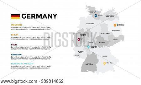 Germany Vector Map Infographic Template. Slide Presentation. Berlin, Munchen, Koln, Hamburg. Europe