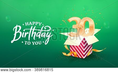 30 Years Anniversary Vector Banner Template. Thirty Years Jubilee Years With Paper Box On A Green Ba