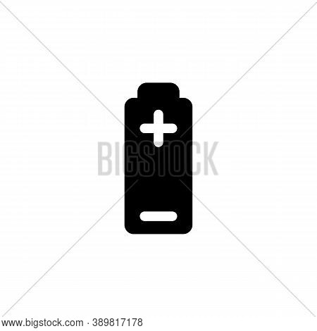 Battery Plus Minus Black Icon On White Background. Vector Eps10