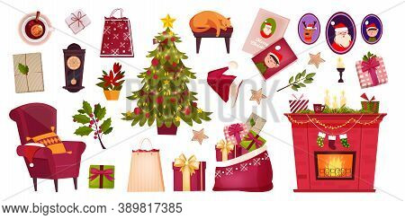 Christmas Room Interior Elements Set With Decorated X-mas Tree, Traditional Chimney, Gift Boxes. Win
