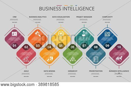 Infographic Business Intelligence Template. Icons In Different Colors. Include Crm, Agile, Business