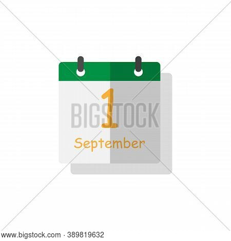September 1st Icon On White Background With Shadow. Back To School. School Theme. September 1st Cale