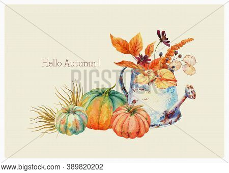Watercolor Fall Floral Bouquet In Vintage Rusty Watering Can, Orange Blue Pumpkins. Thanksgiving Dec
