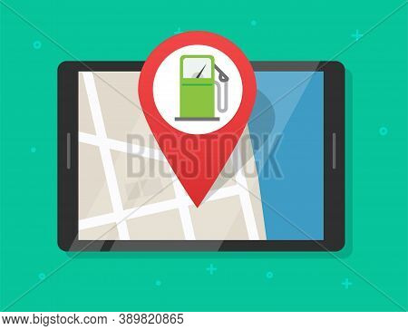 Online Gas Petrol Fuel Station Map With Navigation Application On Digital Tablet Computer, Position