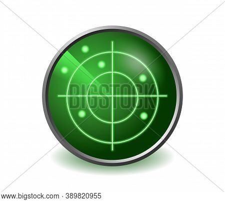 Radar Icon - Green Screen Of Military Scanner - Target Localization And Electronic Protection - Isol