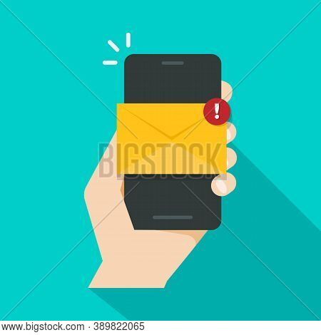 Email Notification Concept Unread Email Notification New Message Smartphone Screen Vector Illustrati