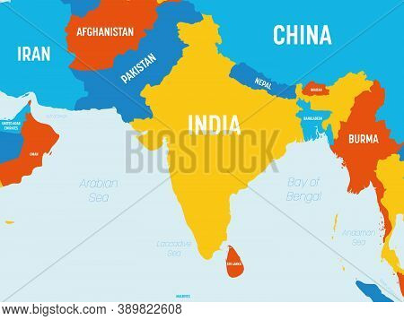 South Asia Map - 4 Bright Color Scheme. High Detailed Political Map Of Southern Asian Region And Ind