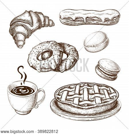 Hand Drawn Pastries With Coffee Cup Or Tea Isolated On White Background In Vintage Engraved Style. S