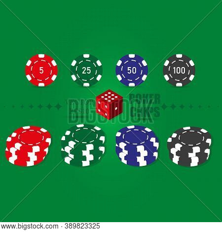 Poker Set Of Casino Chips Icons With Shadow. Red, Green, Blue, Black Poker Chips. Vector Isolated On