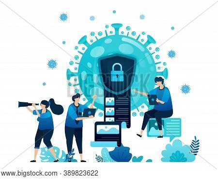 Vector Illustration Of Data Encryption And Security To Protect Confidential Information Of Covid-19