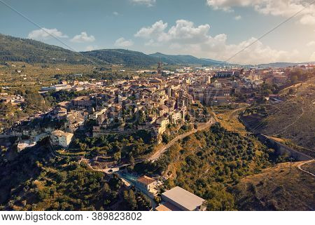 Aerial High Up View Image Charming Small Bocairent Village. Vall D'albaida In The Valencian Communit