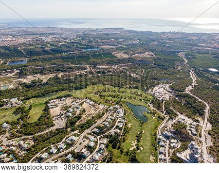 Aerial Photo Drone Point Of View Golf Club With Modern Villas And Apartments On Costa Blanca, Alican