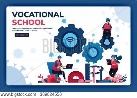 Landing Page Vector Illustration Of Vocational Education Scholarships And E-learning To Support Huma
