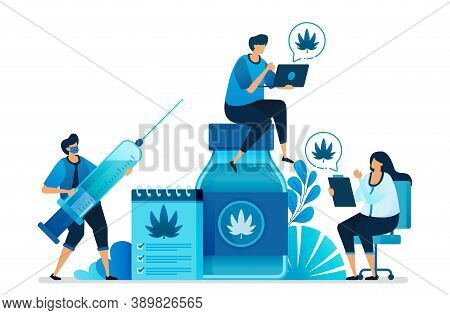 Cannabis And Marijuana Illustrations For Research For Health. Ganja Is Health Commodities, Drug, Oil