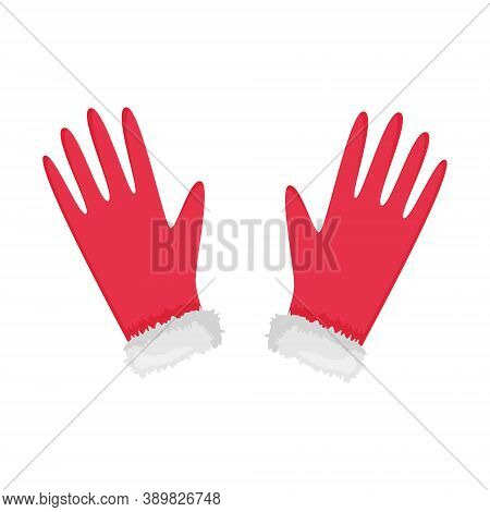 Red Gloves With Fur In A Flat Style. Winter Hand Accessory Isolated On White Background. Elements Of
