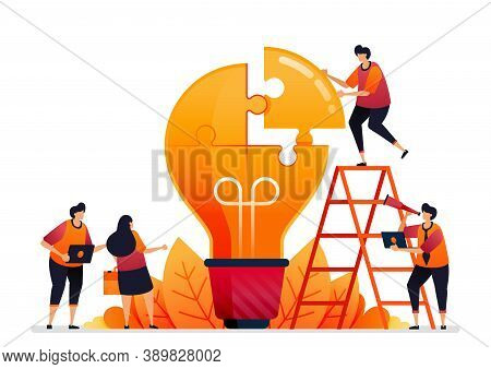Vector Illustration Of Solve Problems And Find Solutions With Teamwork. Share Ideas With Brainstormi
