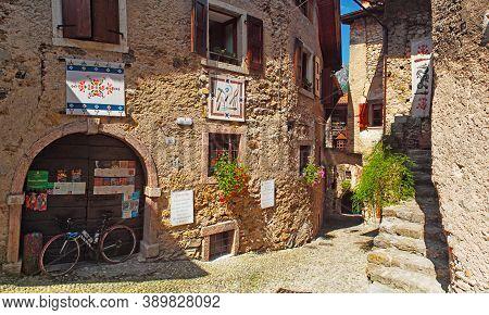 Canale Di Tenno, Italy - 07 21 2017: Beautiful Medieval Village Near The Lake Lago Di Garda, Hisoric