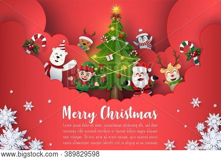 Origami Paper Art Of Christmas Postcard Banner Of Santa Claus And Cute Cartoon Character, Merry Chri